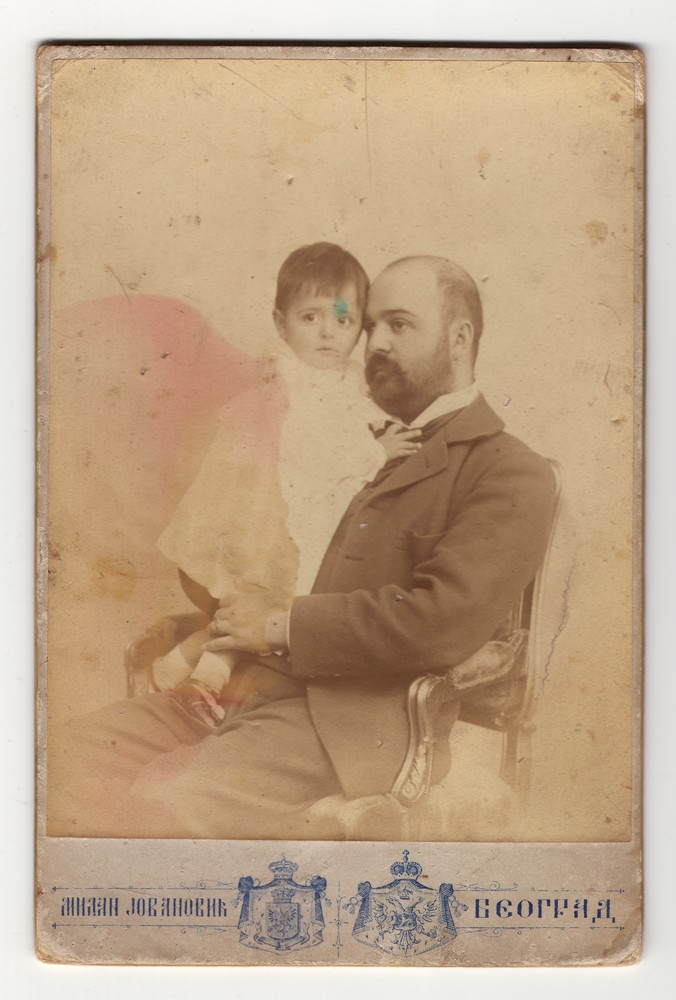 Studio portrait of a man and a baby, © Museum of Applied Art