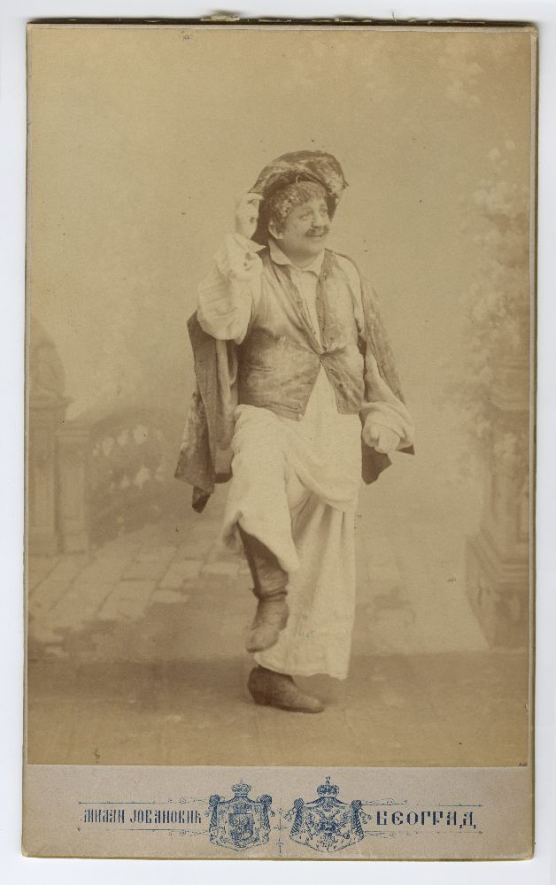 Studio portrait of Pera Dobrinović in character from the play 'Bunjevka', © Museum of Theater Art of Serbia