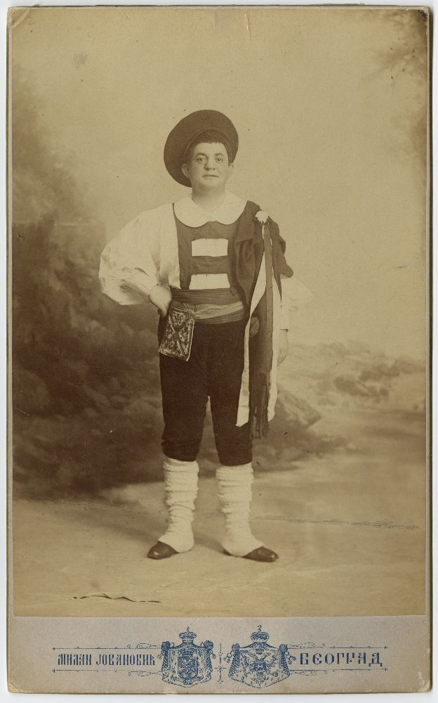 Studio portrait of Pera Dobrinović in character as 'Jovan' from the opera 'Jovančini svatovi', © Museum of Theater Art of Serbia