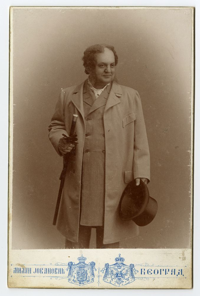 Studio portrait of Pera Dobrinović in character as 'Lebrecht' from the play 'Ultimo', © Museum of Theater Art of Serbia