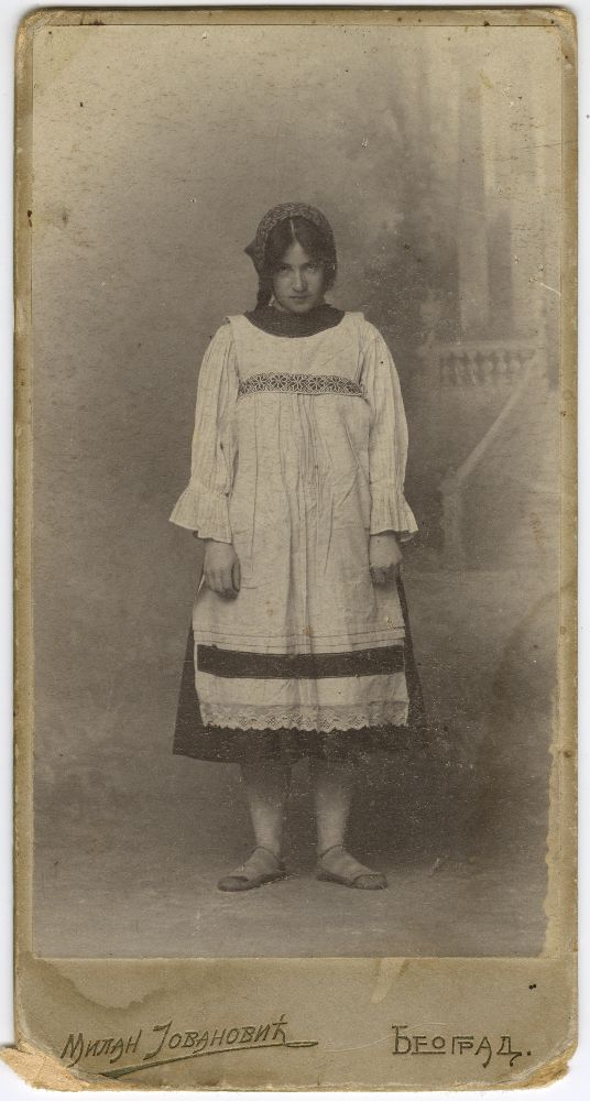 Studio portrait of actress Ljubica Pavlica in character as 'Anísya', © Museum of Theater Art of Serbia