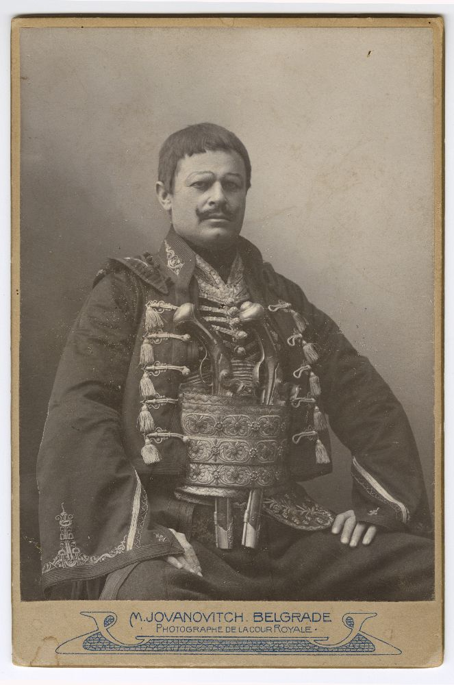 Studio portrait of actor Milorad Petrović in character as 'Hajduk Veljko', © Museum of Theater Art of Serbia