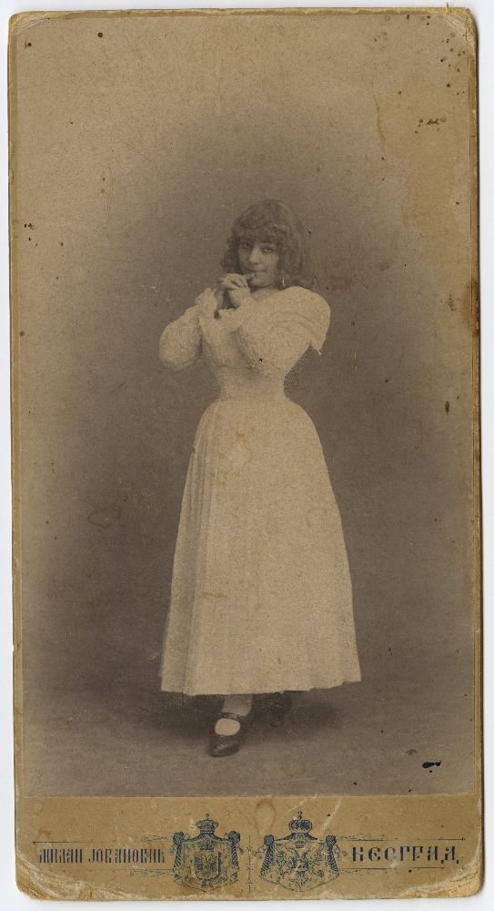 Studio portrait of actress Zorka Todosić in character as 'Bettina', the mascot in the play 'Maskota', © Museum of Theater Art of Serbia