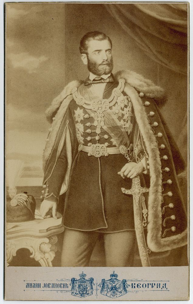 Photographic reproduction of a lithograph depicting Mihailo Obrenović III, Prince of Serbia, © Museum of Theater Art of Serbia