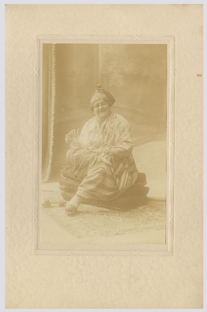 Studio portrait of a woman in character as 'Aunt Mariota' in the play 'Dorćolska posla', © Museum of Theater Art of Serbia