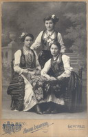 Studio portrait of three women in traditional dress, © National Library of Serbia