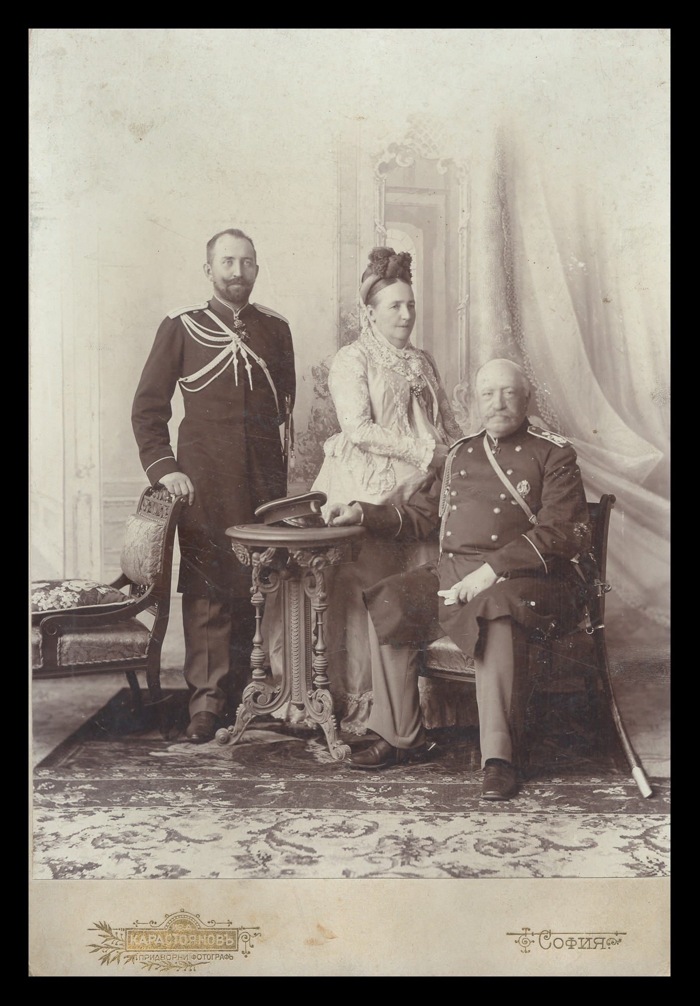 Studio portrait of Count Nikolai P. Ignatyev with his wife Countess Ekaterina L. Ignatyeva and their son Count Leopold N. Ignatyev, © National Museum of Military History Sofia