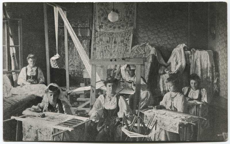 Interior of a textile factory producing bez and embroideries, © Museum of City of Sarajevo