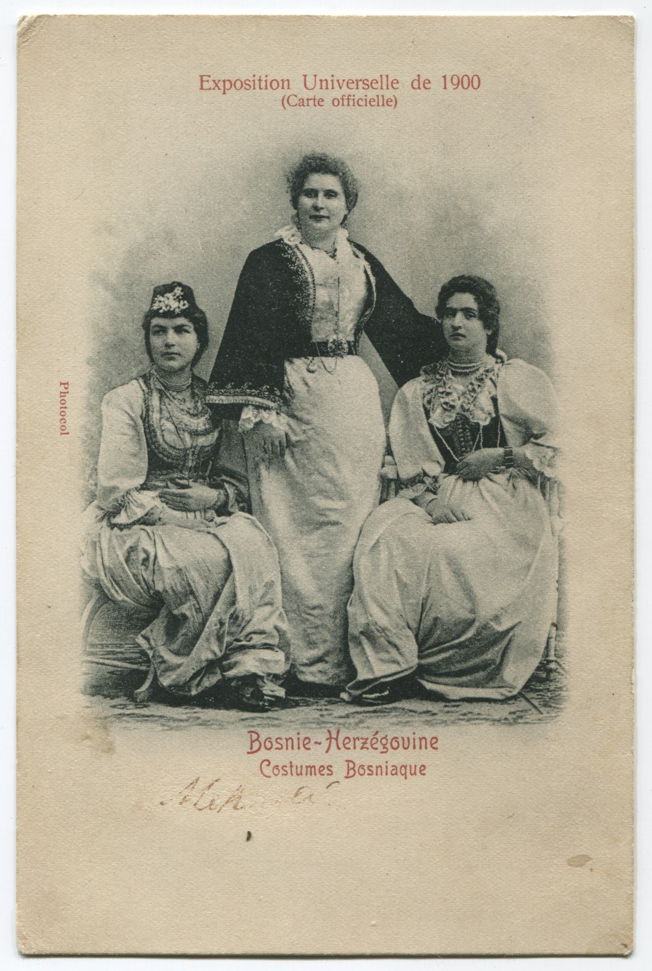 """1900 World's Fair (Official Card) /Bosnia And Herzegovina / Bosnian Folk Costumes."", © Museum of City of Sarajevo"