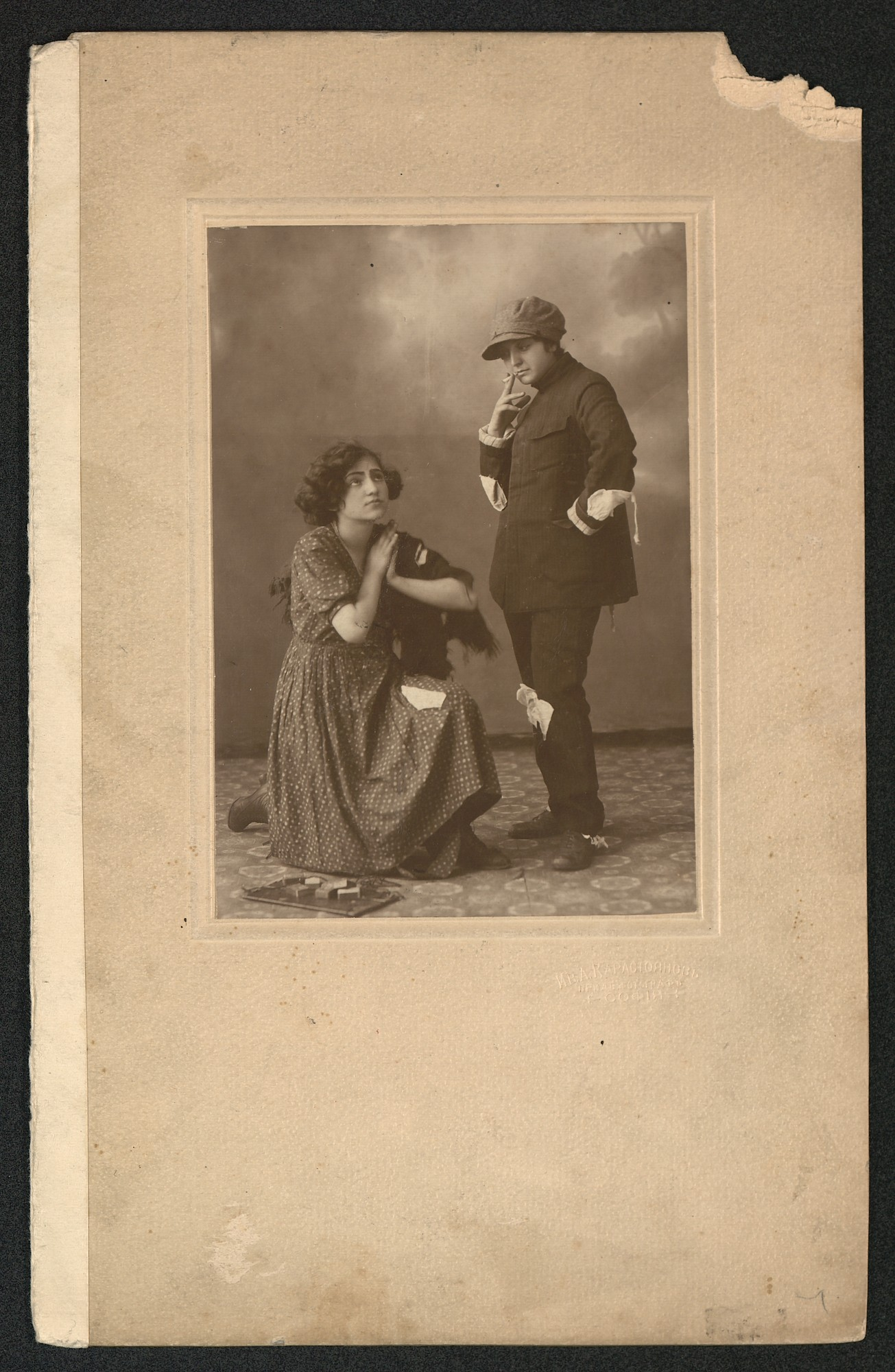 "Studio portrait of Veselina Krastanova and Binka Sotirova in a scene from the opera for children ""The Little Match Girl"", © St. Cyril and St. Methodius National Library"