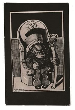 [Untitled] Caricature of the Italian Emperor Vittorio Emanuele III. on his throne