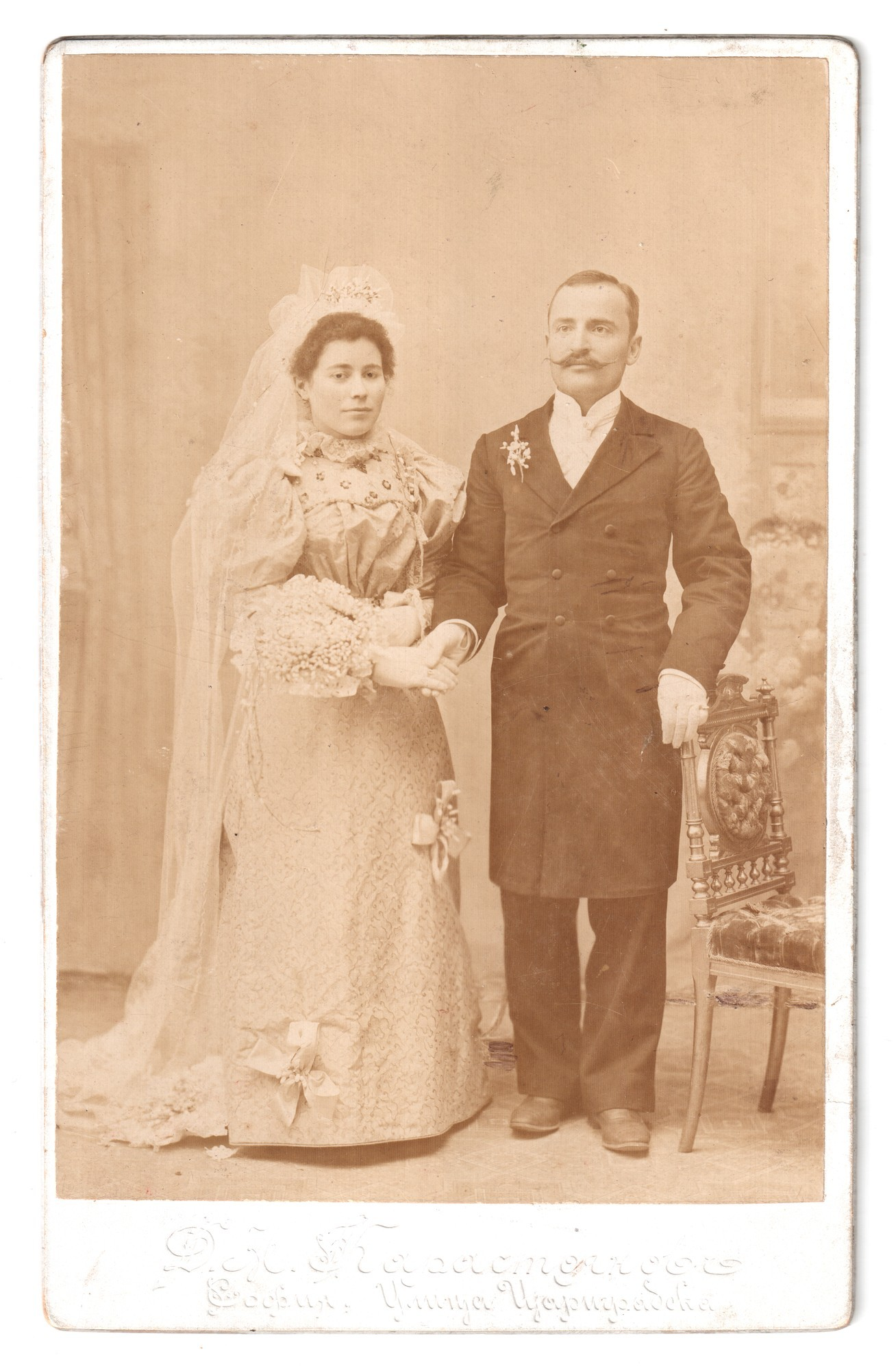 Studio wedding portrait of Fanka and Georgi Kuzmanov von Karastoyanov, Dimitar Anastasov