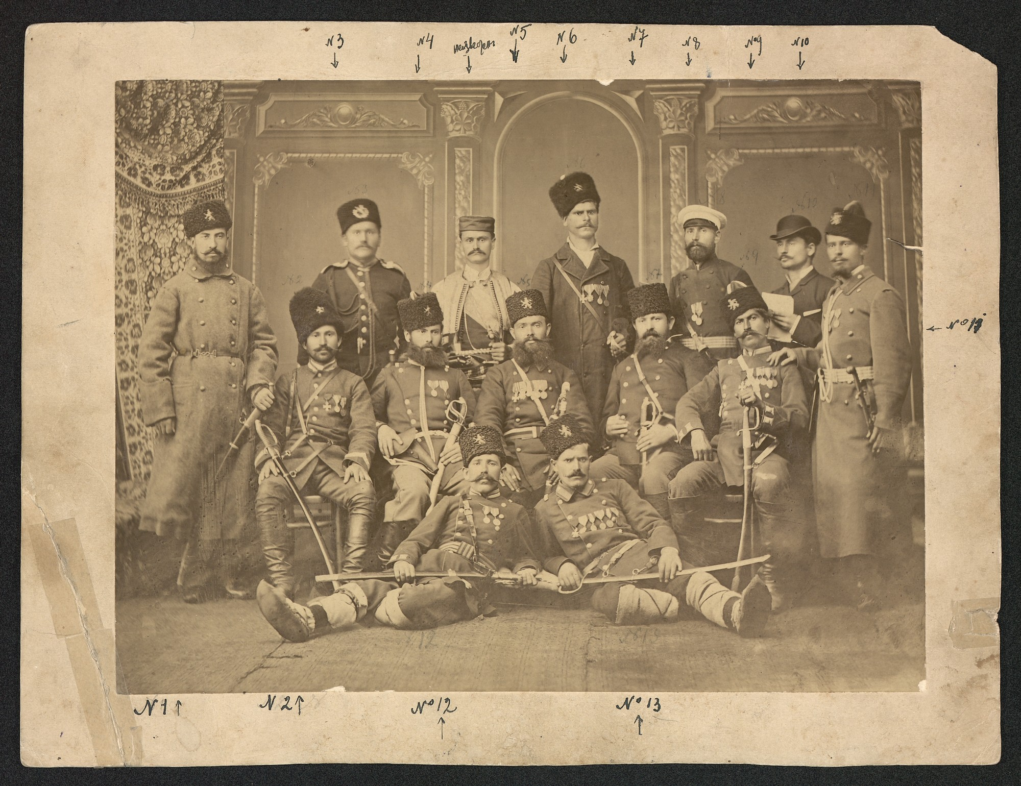 "Studio portrait of opalchentsi-pobornizi meaning ""volunteer combatant"" in the Russo-Ottoman War of 1877-1878, and volunteers in the Serbo-Bulgarian War in 1885 von Karastoyanov, Dimitar Anastasov"