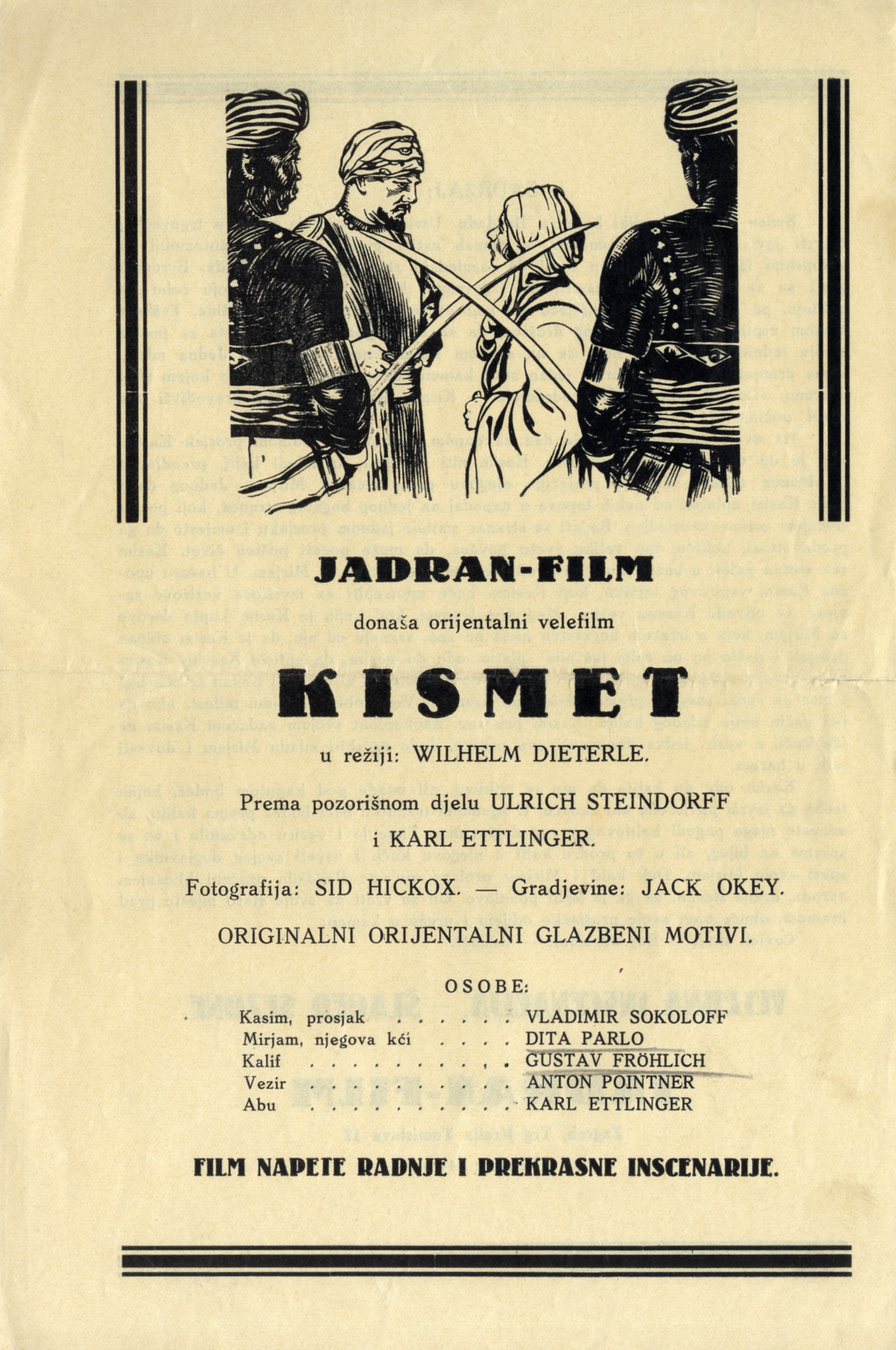 Advertisement for the feature film 'Kismet', © Jugoslovenska kinoteka, Belgrade