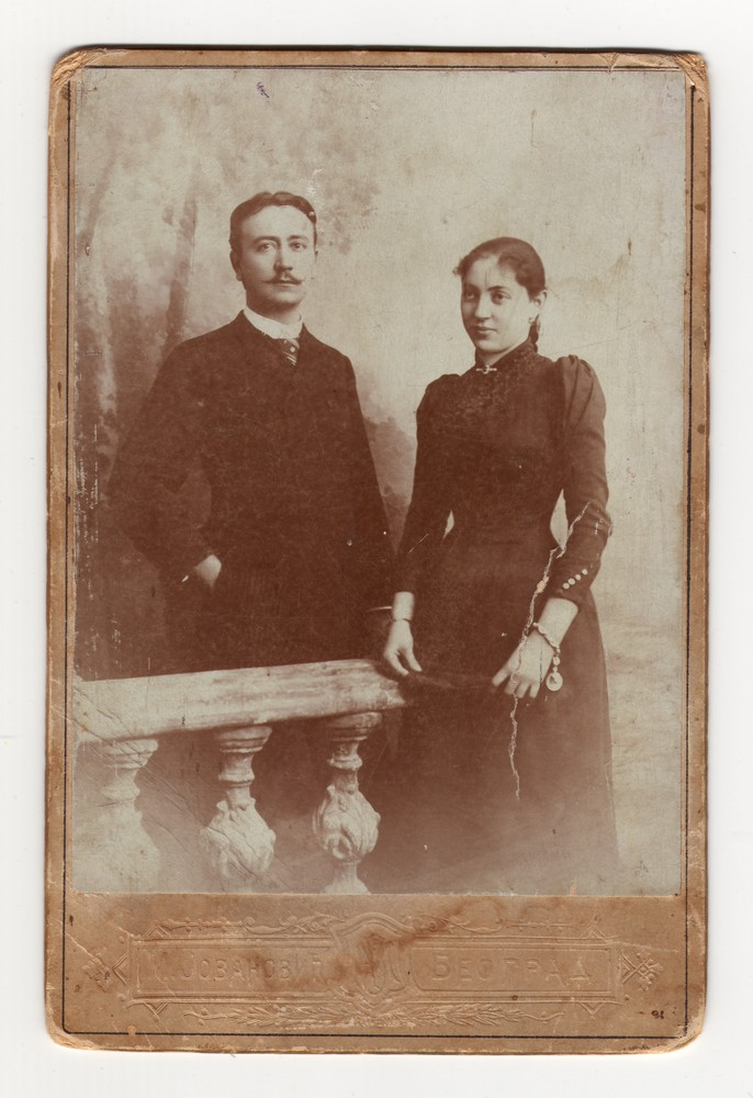"Studio portrait of D. S. Radovanović and his fiancée Milica ""Mica"" Popović, © Museum of Applied Art"