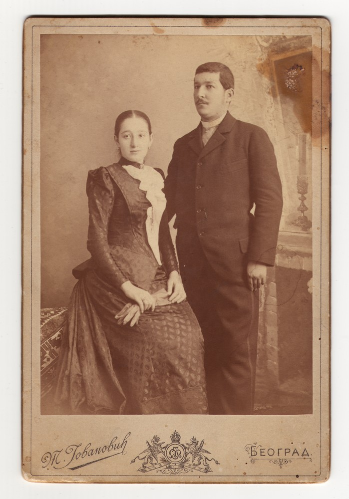 "Studio portrait of Mihailo Nikolić and his wife Stana ""Stanka"", © Museum of Applied Art"