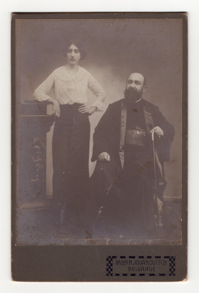Studio portrait of a priest and his daughter, © Museum of Applied Art