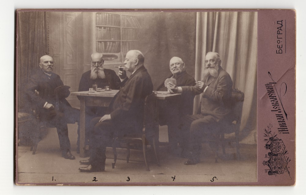 Group portrait of five men playing cards, © Museum of Applied Art