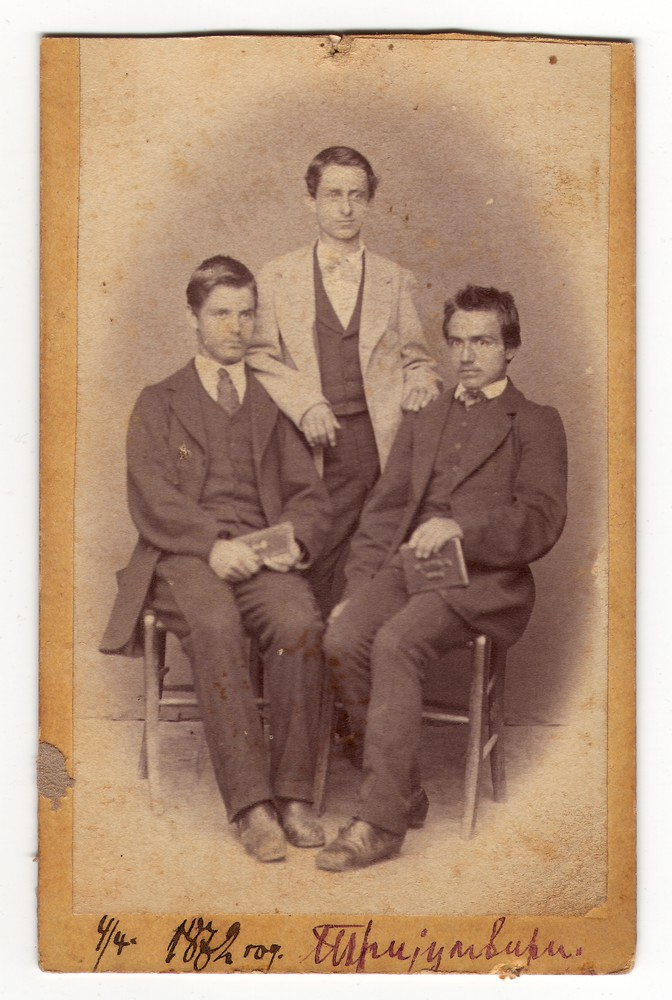 Studio portrait of three young men, © Museum of Applied Art