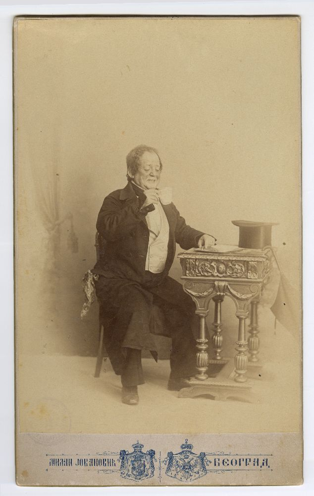 Studio portrait of Pera Dobrinović in character from the play 'Die Goldene Spinne', © Museum of Theater Art of Serbia