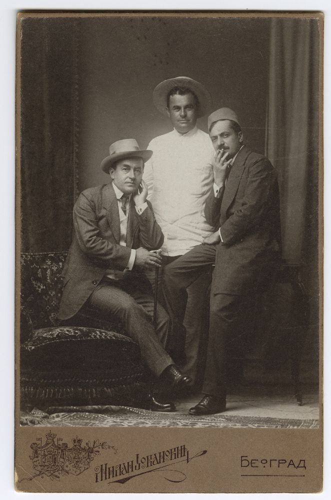 Studio portrait of Sava Todorović, Milorad Petrović and photographer Milan Jovanović, © Museum of Theater Art of Serbia