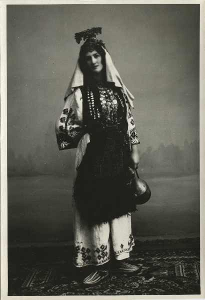 Studio portrait of a woman in traditional Orthodox clothes with a headdress, © The Historical Archive of Sarajevo