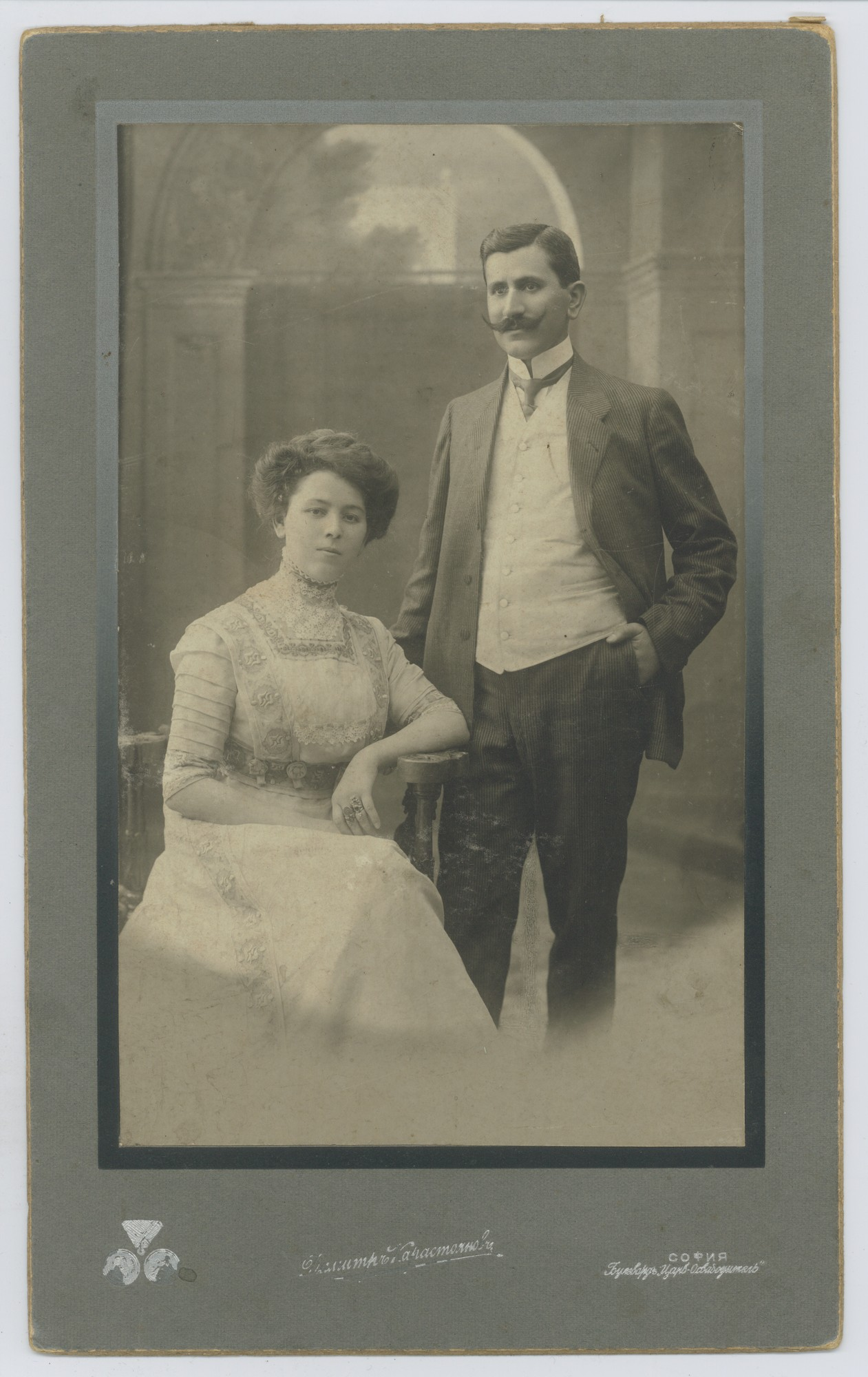 Studio portrait of Simeon Arnaudov and his wife, © Scientific Archive of the Bulgarian Academy of Sciences