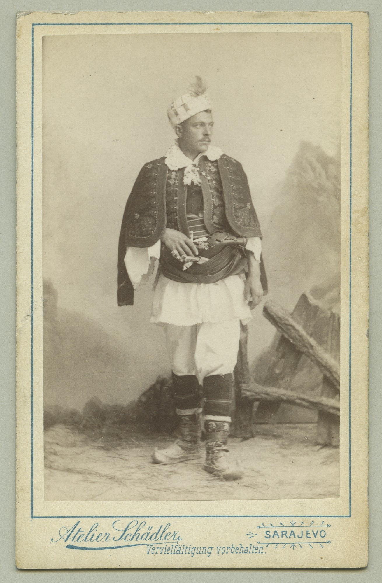 Studio portrait of a man in ornate traditional clothes, © The Austrian Museum of Folk Life and Folk Art