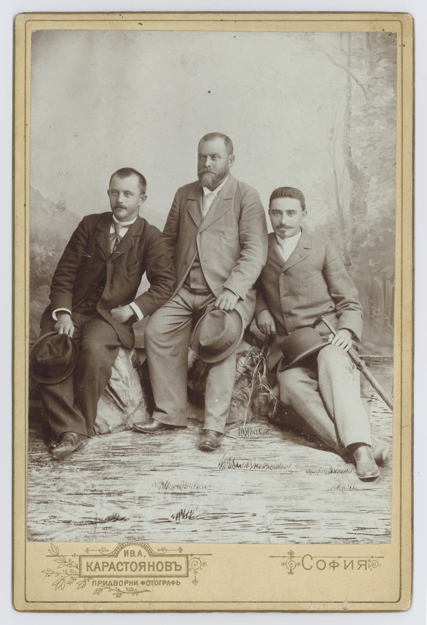 Studio portrait of Jovan Cvijić, Georgi Zlatarski, and Dimitar Ilkov, © Scientific Archive of the Bulgarian Academy of Sciences