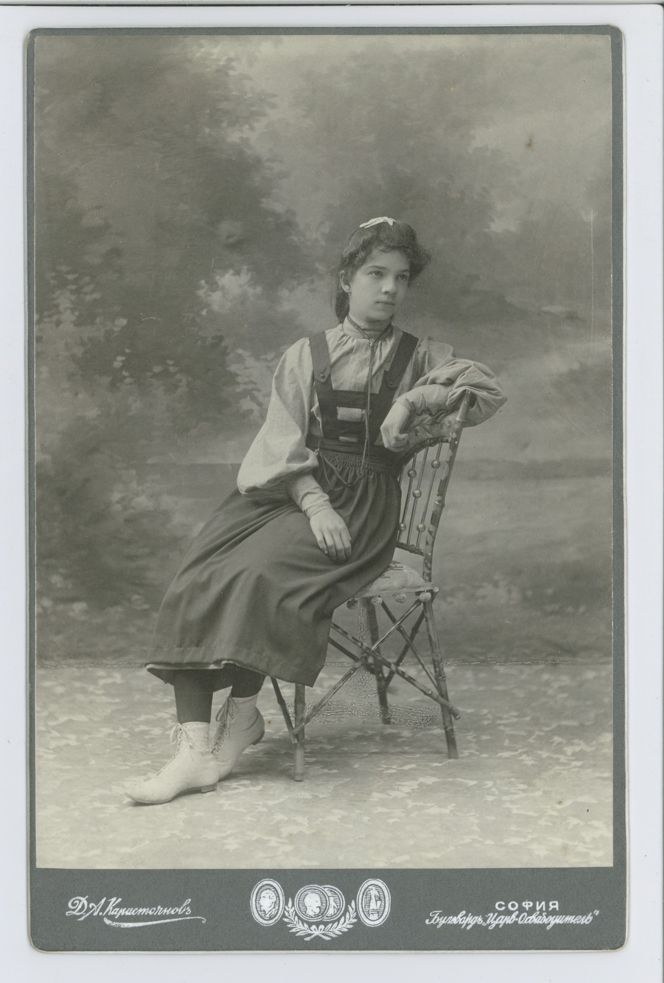 Studio portrait of Vera Stambolova as a schoolgirl, © Scientific Archive of the Bulgarian Academy of Sciences