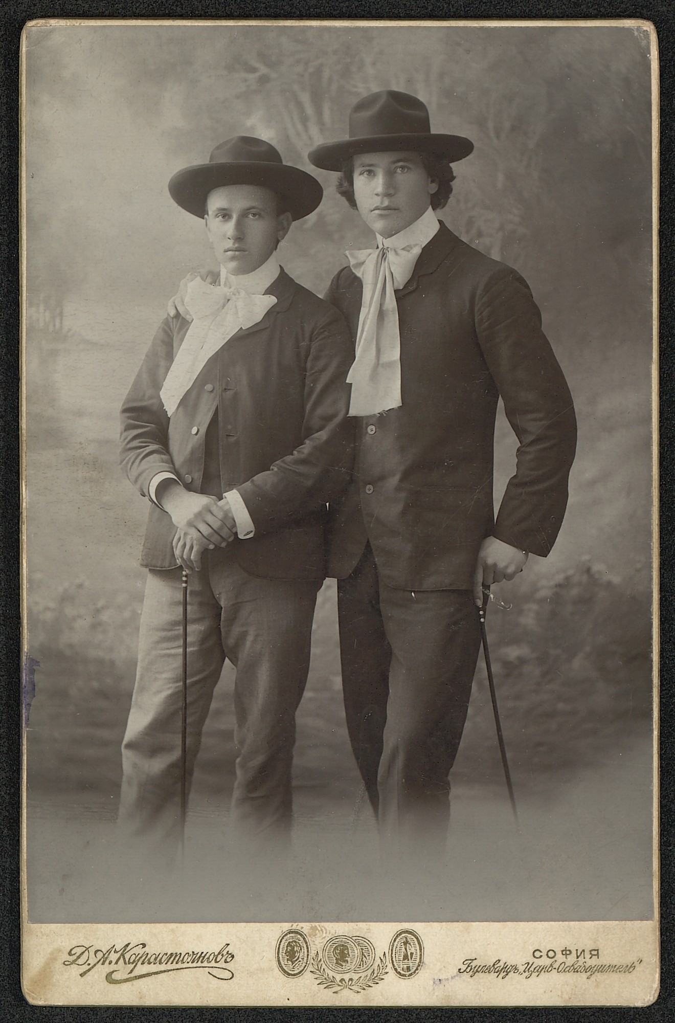 Studio portrait of the students Emanuil Popdimitrov and Ivan Yotov, © St. Cyril and St. Methodius National Library