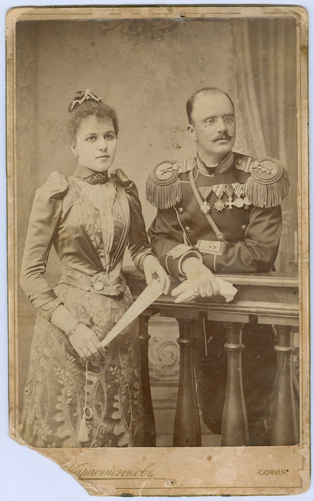 Studio portrait of major Marko Stefanov Dyulgerov and his wife, © State Archives - Plovdiv