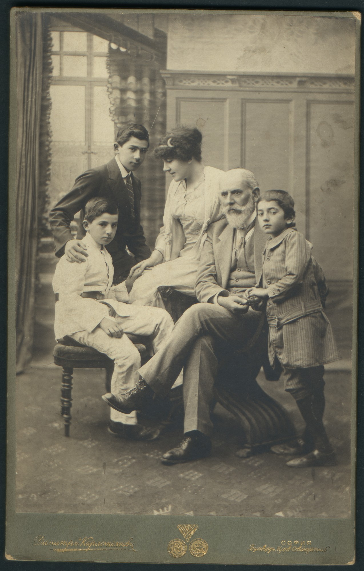 Studio portrait of Rayna and Dimitar Karastoyanov with three of their sons, © St. Cyril and St. Methodius National Library