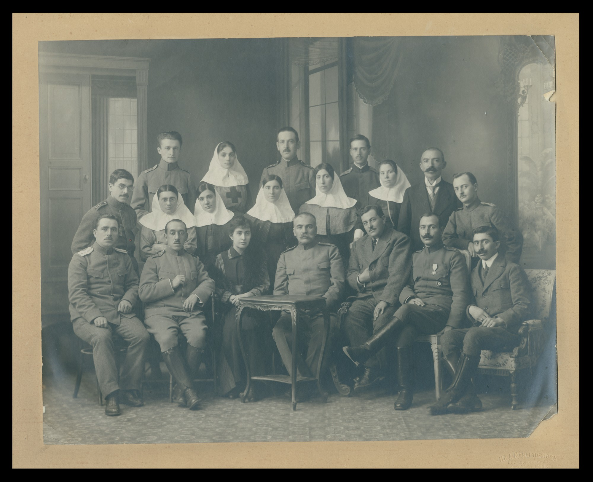 "Medical staff and prisoners of war at the ""Alexandrovska Hospital"", © State Archives - Sofia"