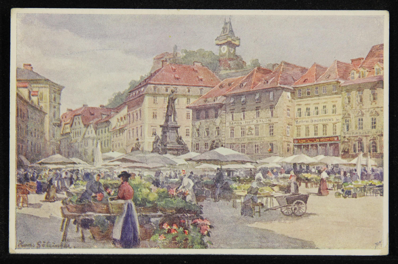 Graz. - Hauptplatz mit Schloßberg.
