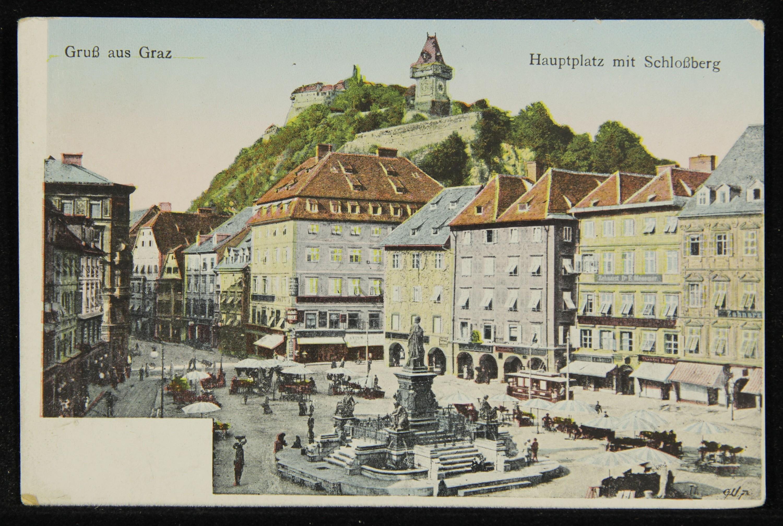 Gruß aus Graz. Hauptplatz mit Schloßberg