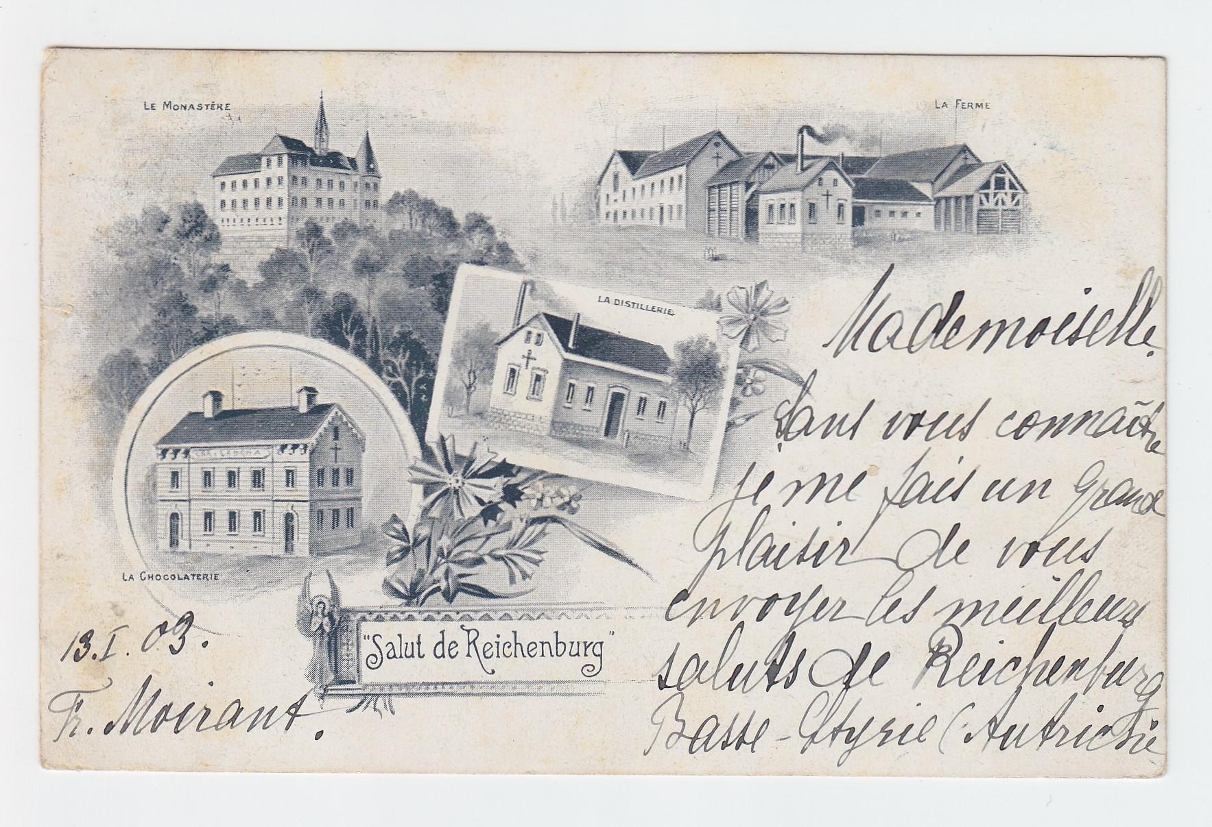 """""""Salut de Reichenburg"""". LA CHOCOLATERIE. LA DISTILLERIE. LA FERME. LE MENASTÈRE."""