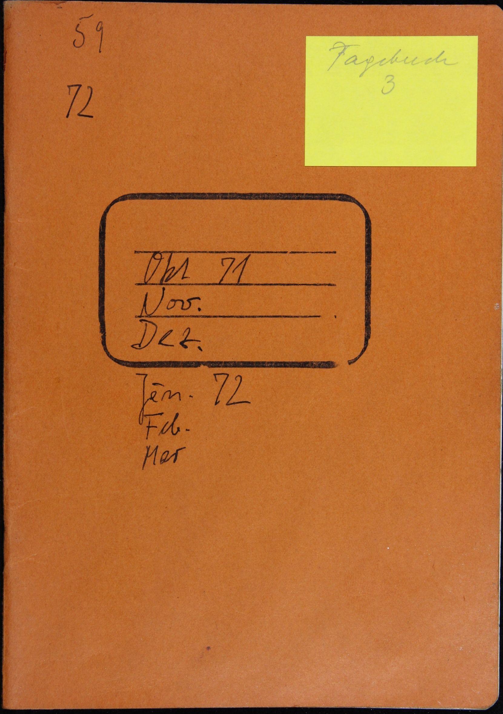 Notizbuch Hartmut Skerbisch (Inventarnr. 3) von Hartmut Skerbisch