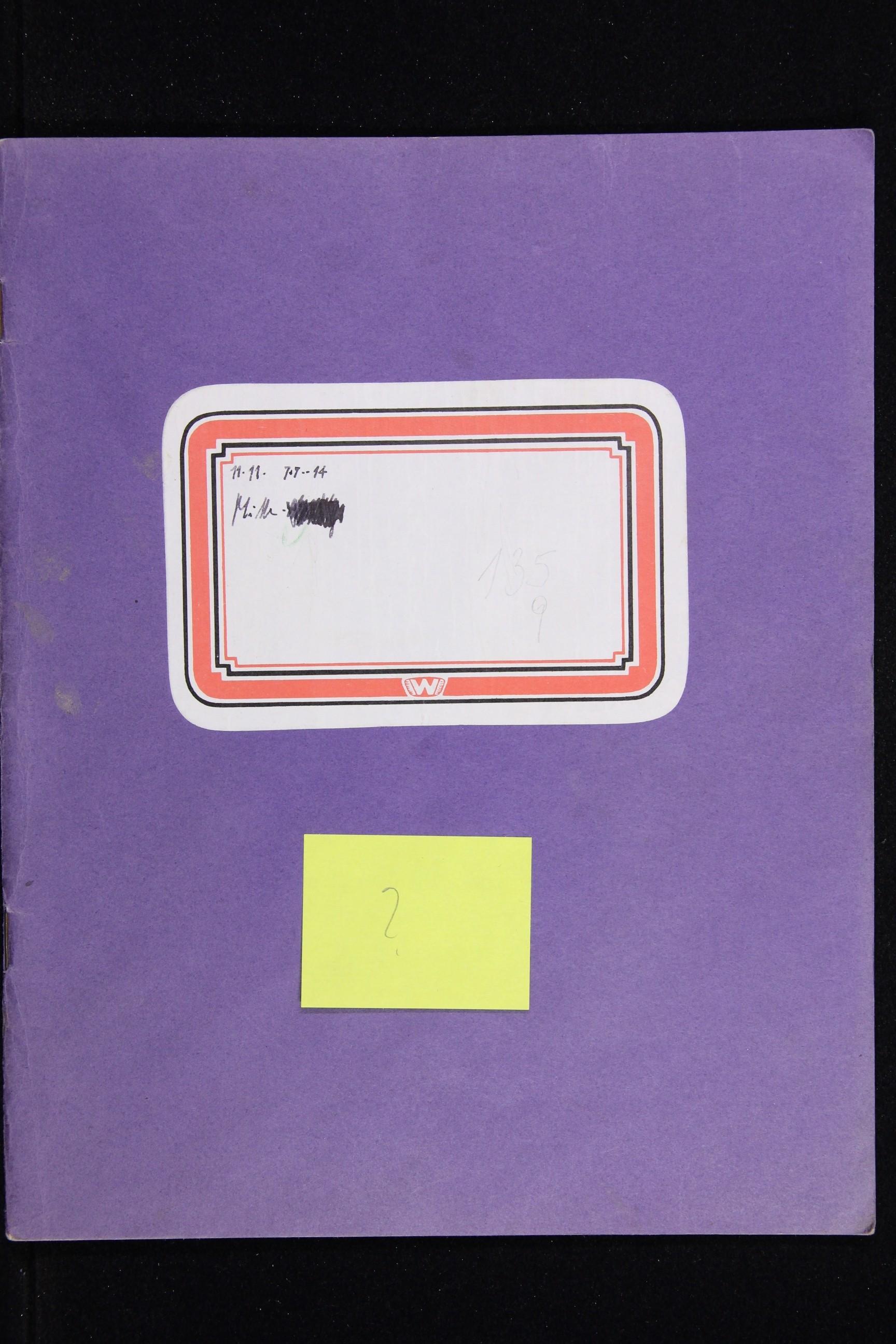 Notizbuch Hartmut Skerbisch (Inventarnr. 6) von Hartmut Skerbisch