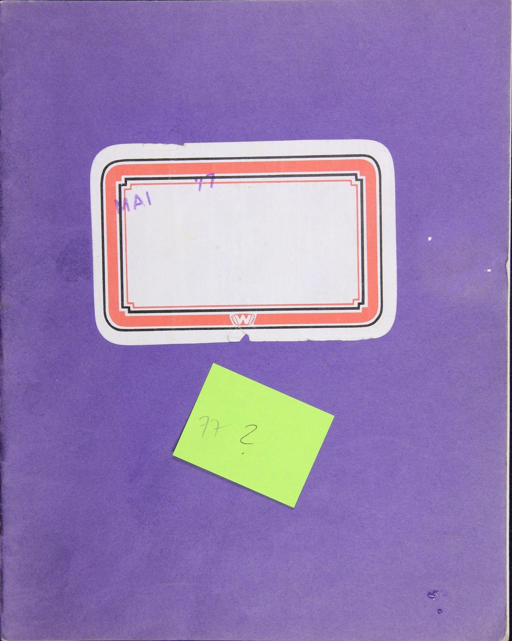 Notizbuch Hartmut Skerbisch (Inventarnr. 7) von Hartmut Skerbisch