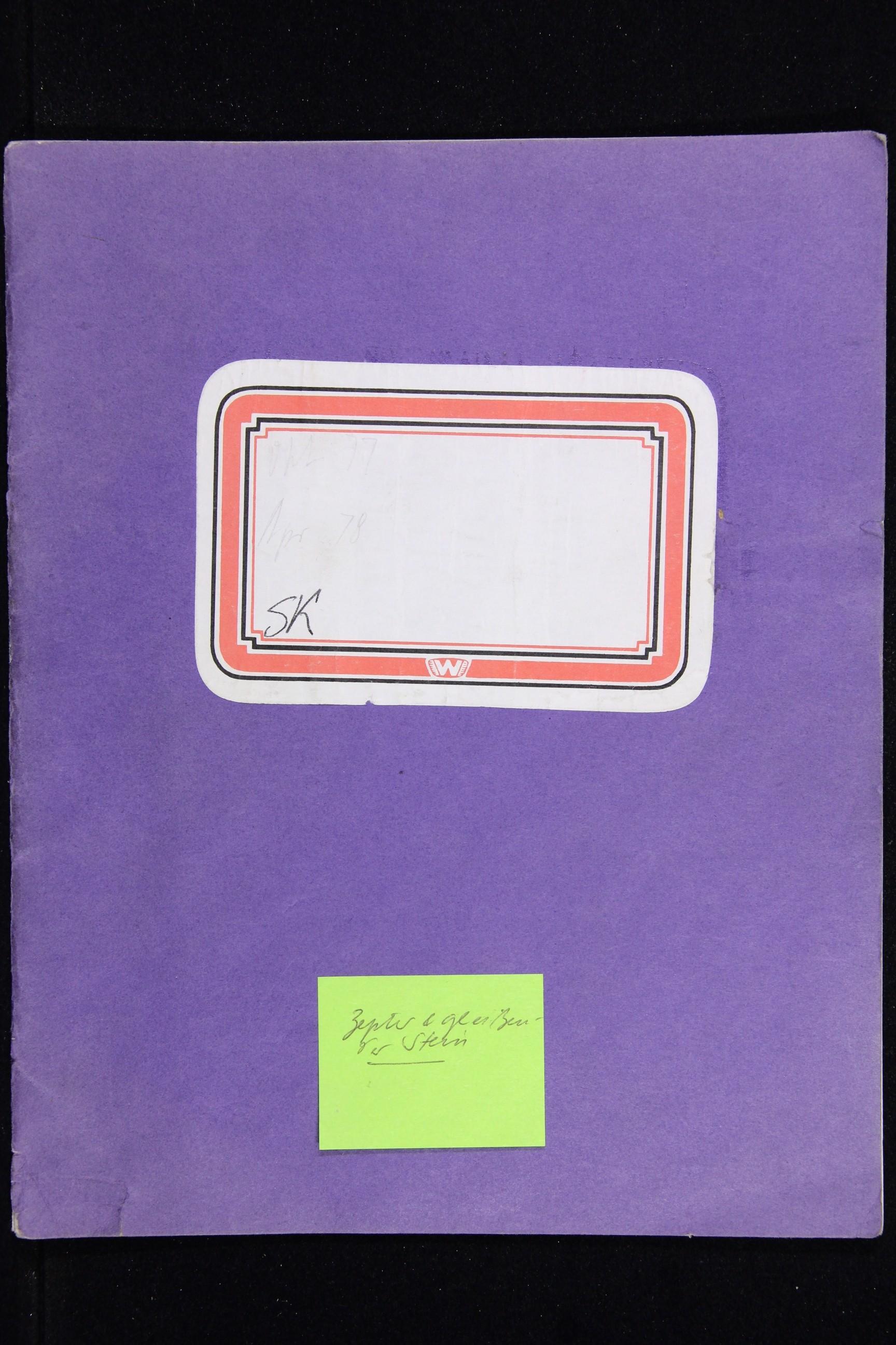 Notizbuch Hartmut Skerbisch (Inventarnr. 8) von Hartmut Skerbisch