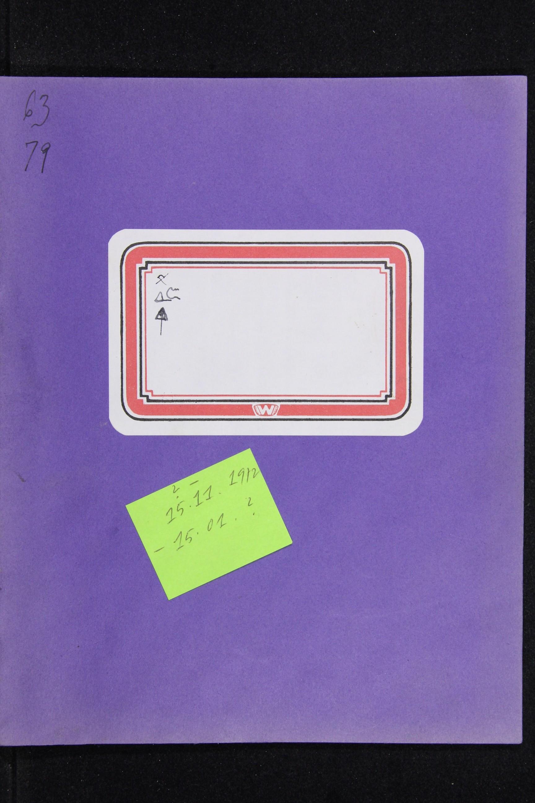Notizbuch Hartmut Skerbisch (Inventarnr. 9) von Hartmut Skerbisch