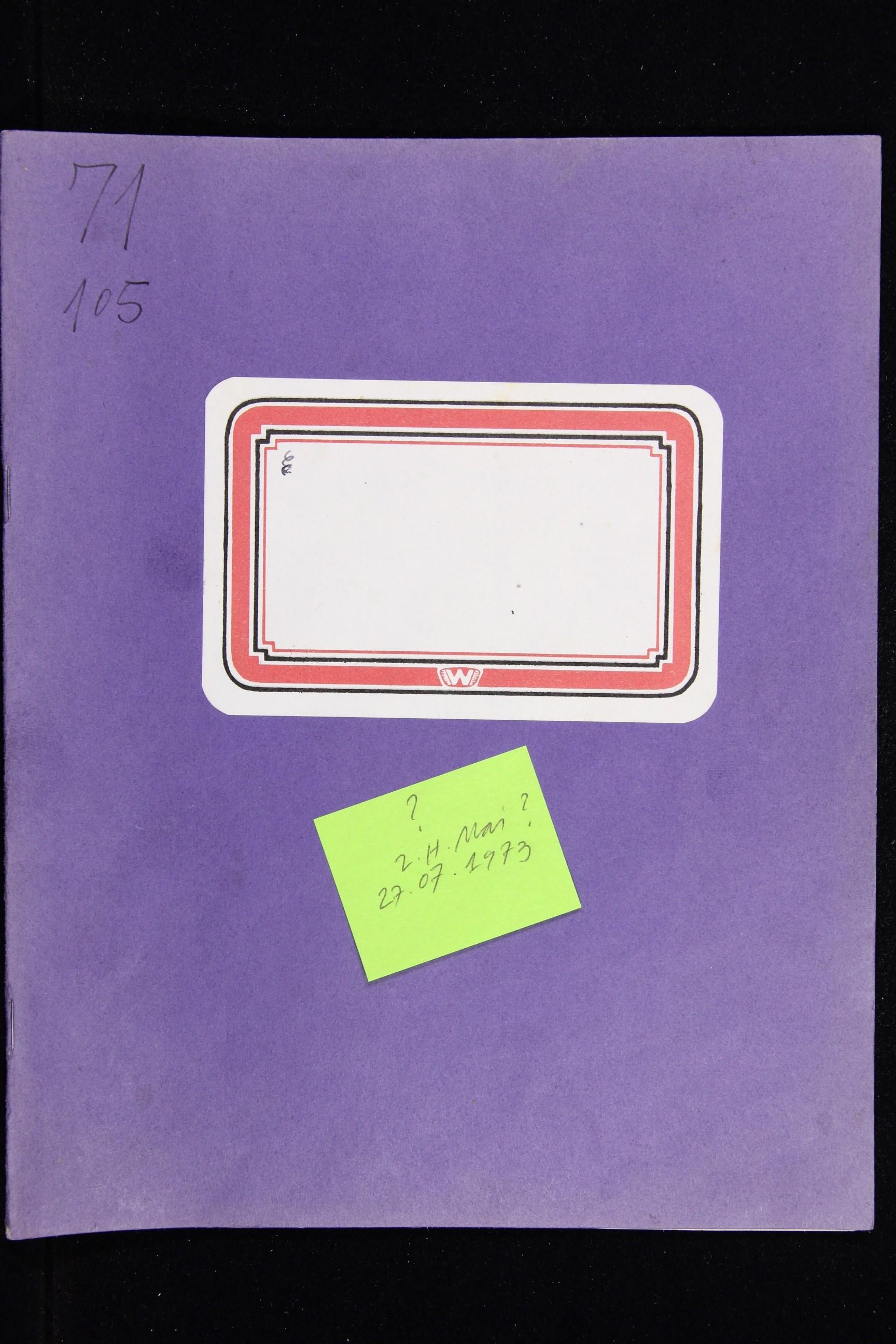 Notizbuch Hartmut Skerbisch (Inventarnr. 11) von Hartmut Skerbisch