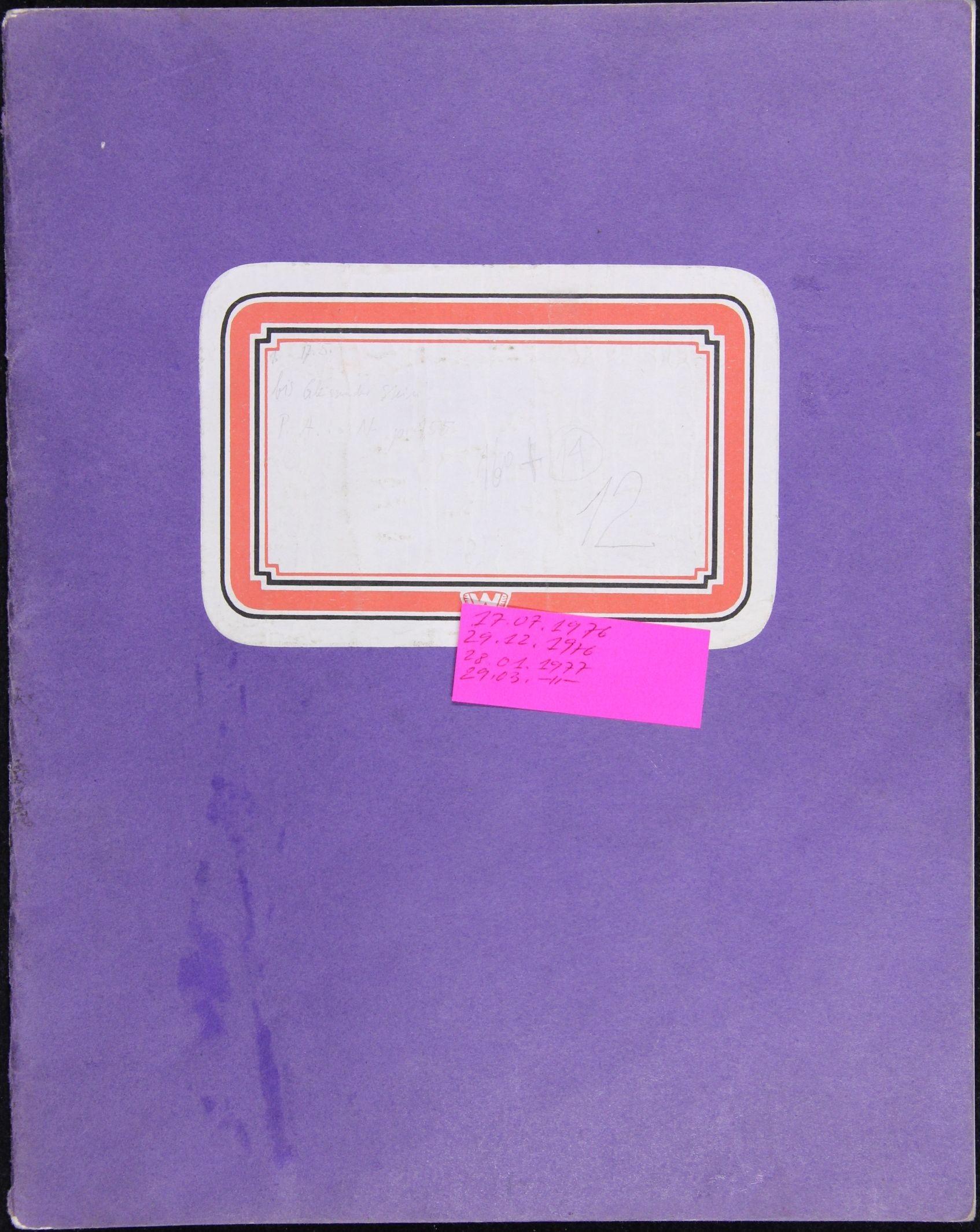 Notizbuch Hartmut Skerbisch (Inventarnr. 13) von Hartmut Skerbisch