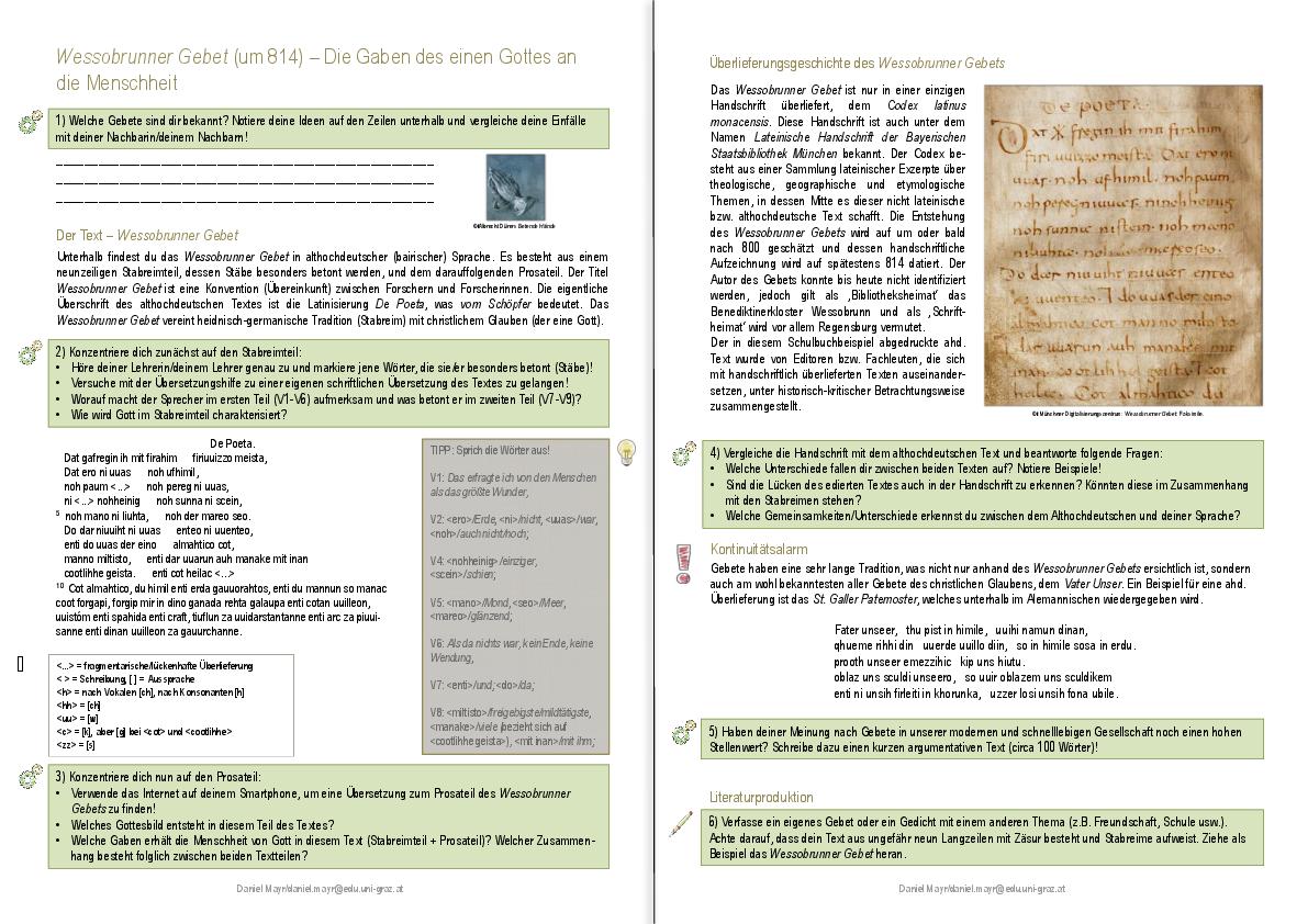 Grazer didaktisches Textportal zur Literatur des Mittelalters